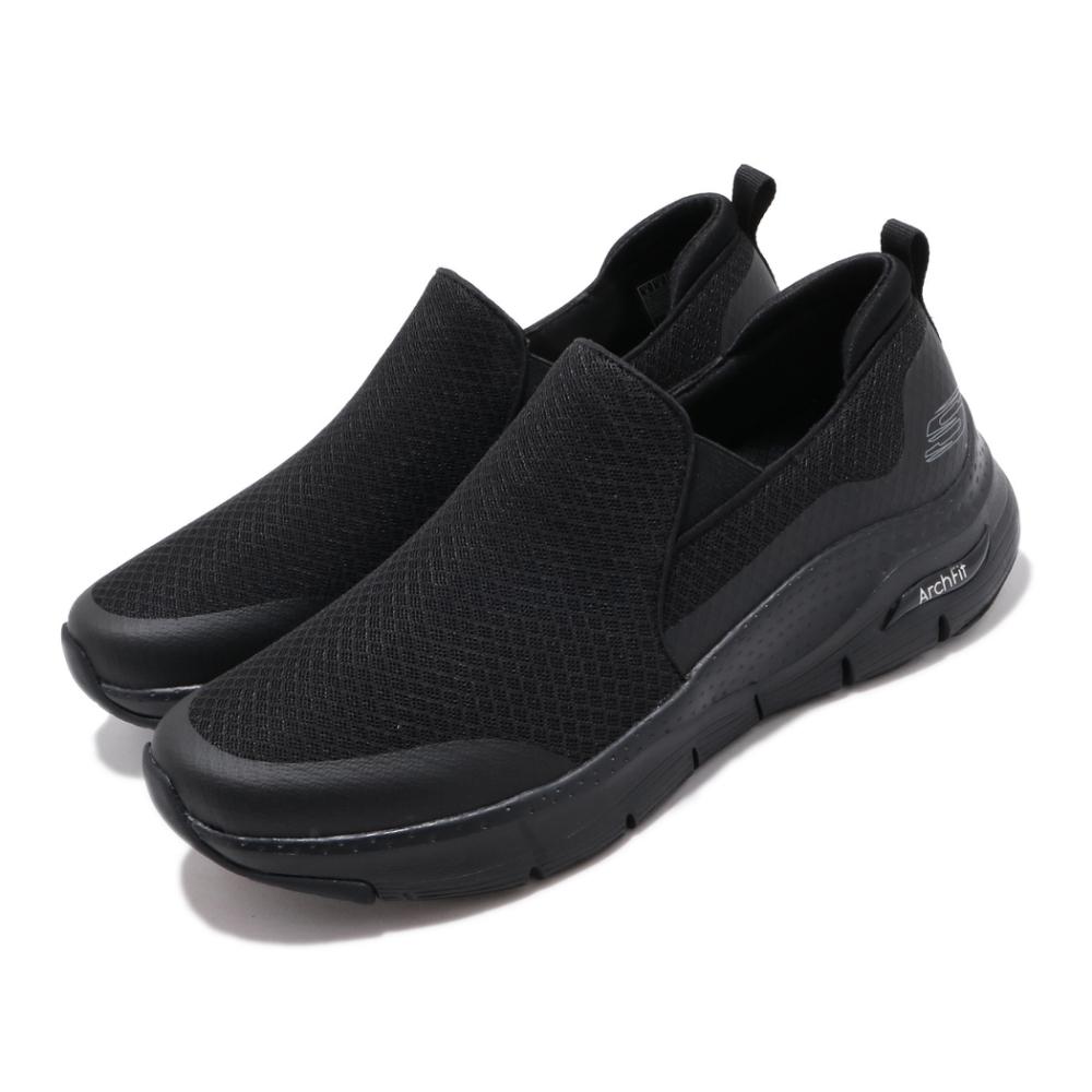 Skechers 休閒鞋 Arch Fit Banlin 襪套式 男鞋 輕量 健走 好穿脫 無鞋帶 透氣 緩震 黑 銀 232043BBK