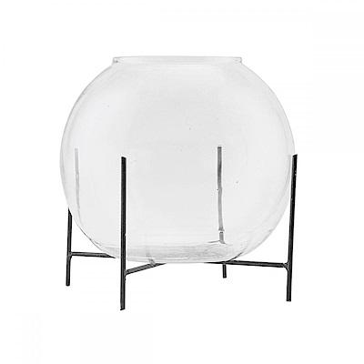 hoi! 丹麥House doctor北歐玻璃花瓶附金屬架-透明-16CM (H014272145)