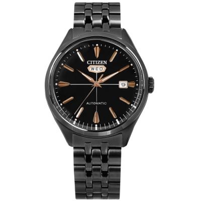 CITIZEN / 經典復刻 C7 機械錶 自動上鍊 不鏽鋼手錶-鍍黑/40mm