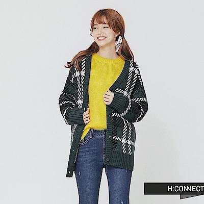 H:CONNECT 韓國品牌 女裝-復古格紋排釦針織外套-綠