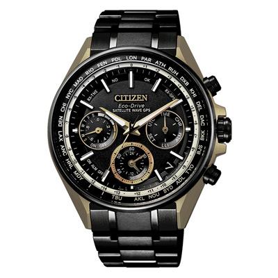CITIZEN 光動能衛星報時站三眼腕錶-黑X金(CC4004-66E)/44mm