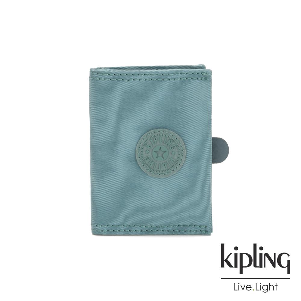 Kipling 冰霜綠暗釦卡夾-CARD KEEPER