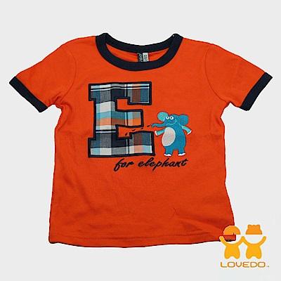 【LOVEDO-艾唯多童裝】潮流字母E 短袖T恤 (橘)