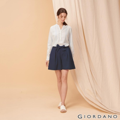 GIORDANO 女裝棉麻蝴蝶結綁帶短褲-66 標誌海軍藍