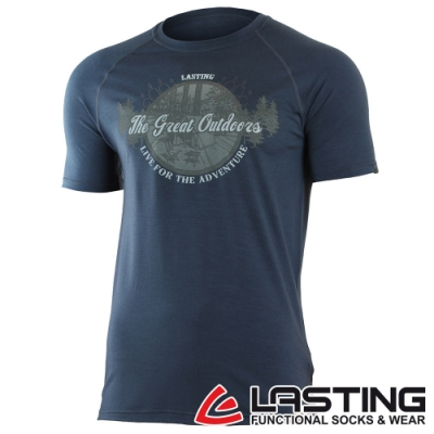 【LASTING捷克】男款羊毛抗菌除臭透氣舒適輕薄短袖T恤LT-LUCAS藍/休閒旅遊/登山露營穿搭皆宜
