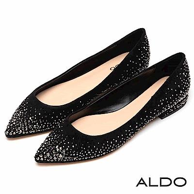 ALDO 原色璀璨金屬銀珠水鑽鑲嵌尖頭粗低跟鞋~尊爵黑色