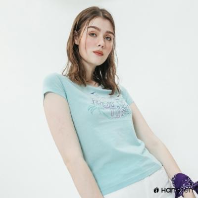 Hang Ten -女裝 - 有機棉-加州清涼造型短T - 藍