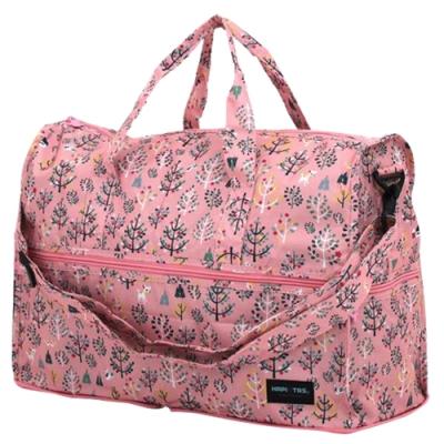 【HAPI+TAS】女孩小物折疊旅行袋(小)-粉紅森林