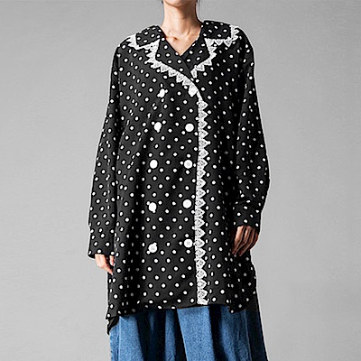 蕾絲波點復古雙排扣襯衫裙-(黑色)Andstyle