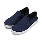 BuyGlasses 單寧刷色男性懶人鞋-藍