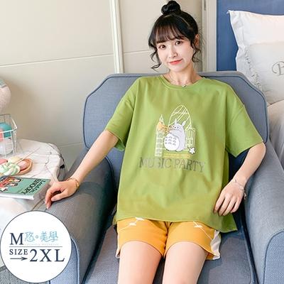 悠美學(居家)-精梳棉短袖居家服套裝-動物音樂會-綠(M-2XL)