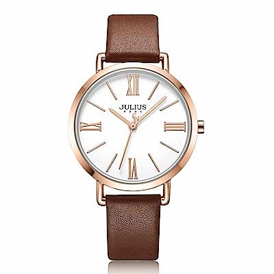 JULIUS聚利時 經典美學簡約時尚皮錶帶腕錶-咖啡色/34mm