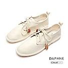 達芙妮DAPHNE 休閒鞋-簡約撞色綁帶舒軟休閒鞋-米色