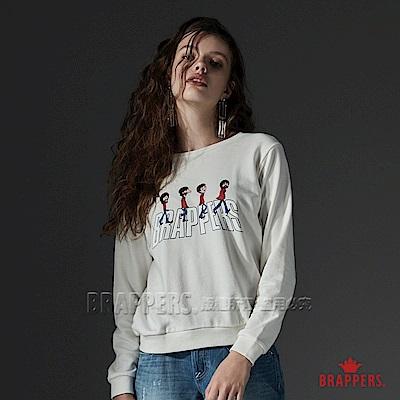 BRAPPERS 女款 披頭四彩色LOGO印花長袖T-米白