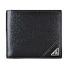 PRADA經典三角銀鐵牌LOGO牛皮8卡對折短夾(黑)
