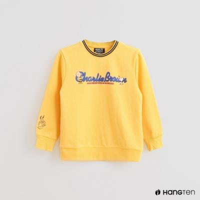 Hang Ten -童裝 - Charlie Brown-文字印花長袖上衣-黃