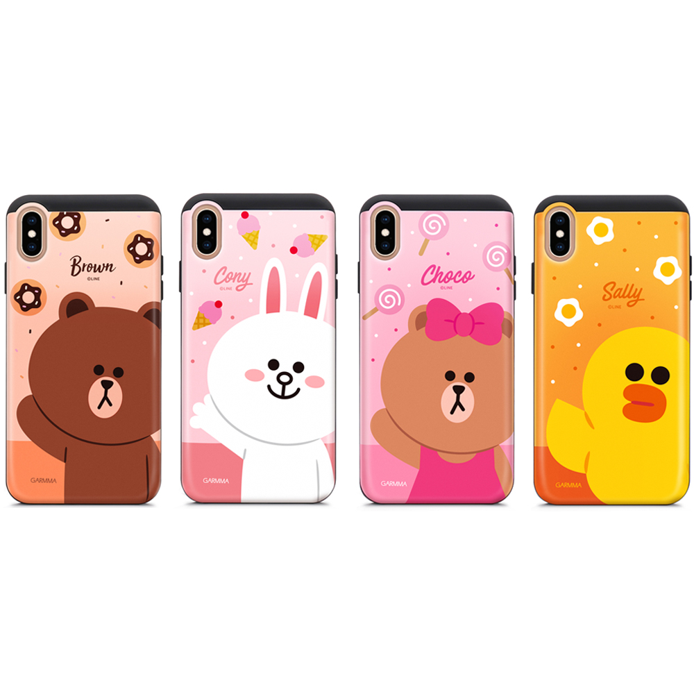 GARMMA LINE FRIENDS iPhone X/XS 插卡式滑蓋防摔殼 @ Y!購物