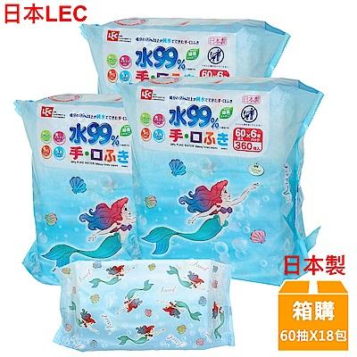 日本LEC 迪士尼小美人魚-口手專用純水99%濕紙巾-60抽x18包入/箱