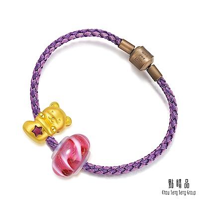 點睛品 Charme Murano Glass 聖誕襪小熊 彩色琉璃黃金串珠手鍊