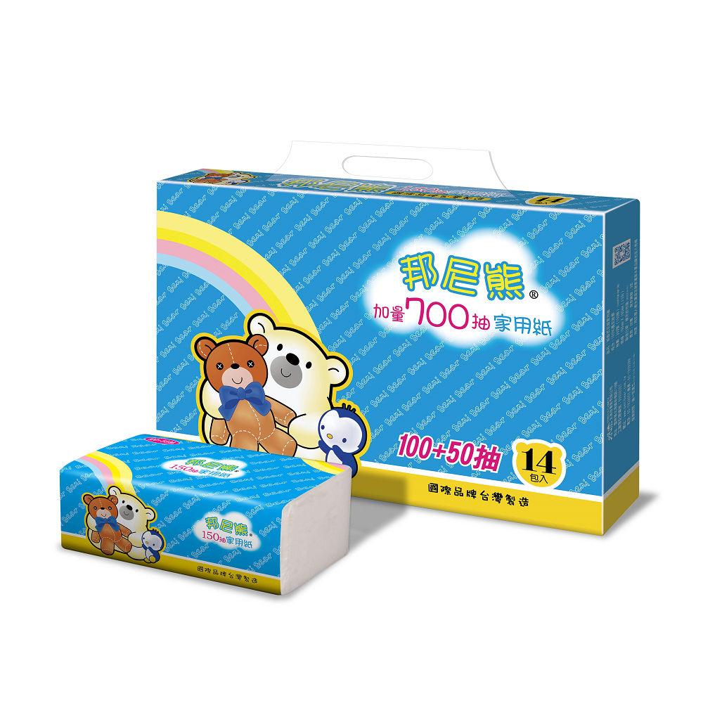 Benibear邦尼熊抽取式花紋家用紙150抽84包/箱