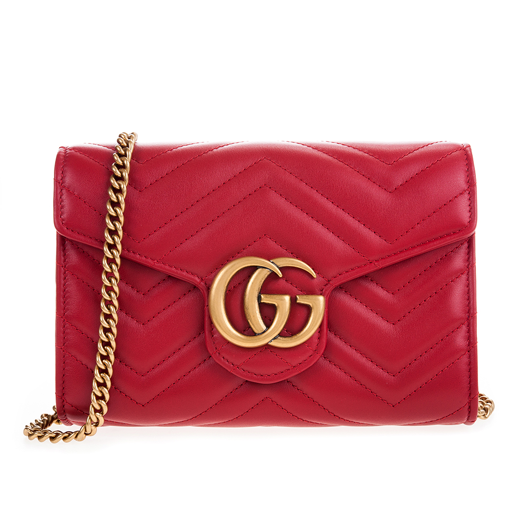 GUCCI GG Marmont系列仿舊金色雙G金屬山形紋牛皮釦式手拿/斜背包 (紅色)GUCCI
