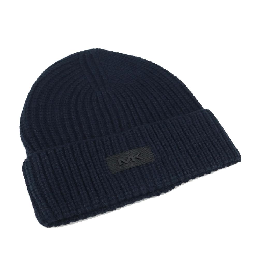 MK MICHAEL KORS縮寫LOGO針織毛帽-深藍