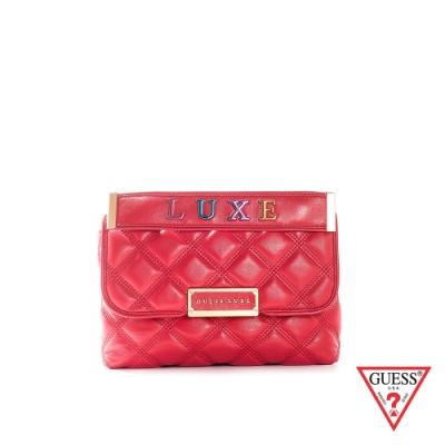 GUESS-女包-菱格紋金屬鍊條手提包-紅
