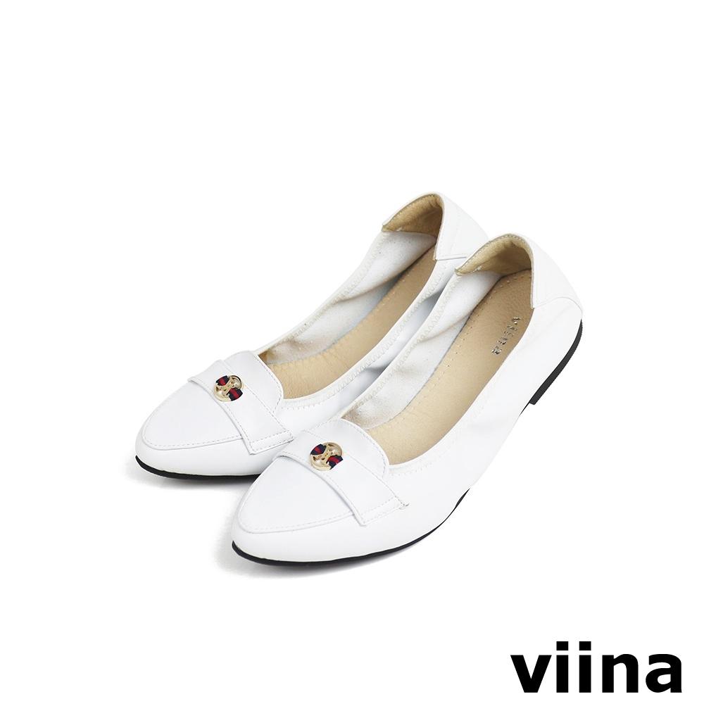viina 尖頭織帶小LOGO摺疊娃娃鞋MIT - 白