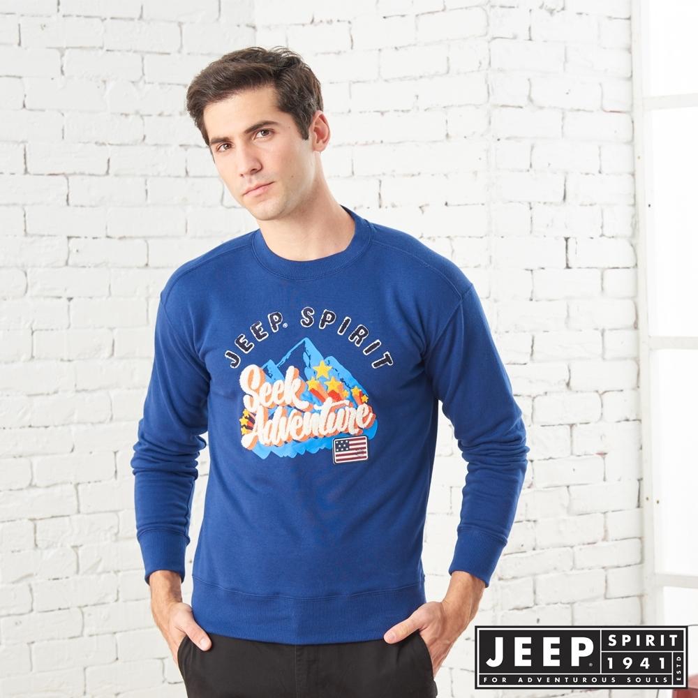 JEEP 精緻立體圖騰長袖TEE-男女適穿 -深藍色