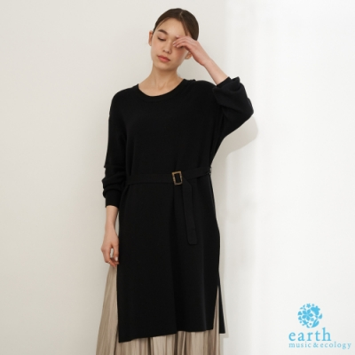 earth music 【SET ITEM】腰帶針織連身洋裝+抓皺感長裙