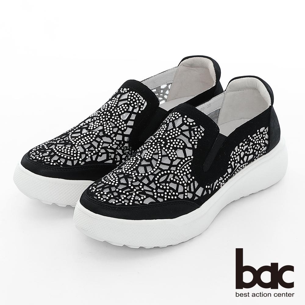 【bac】週末輕旅行 - 網眼鏤空圖騰鑽飾厚底懶人休閒鞋-黑