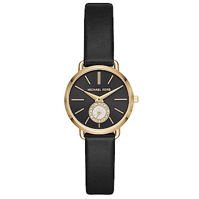 MICHAEL KORS 微閃晶鑽小秒盤真皮手錶(MK2750)-黑X金/28mm