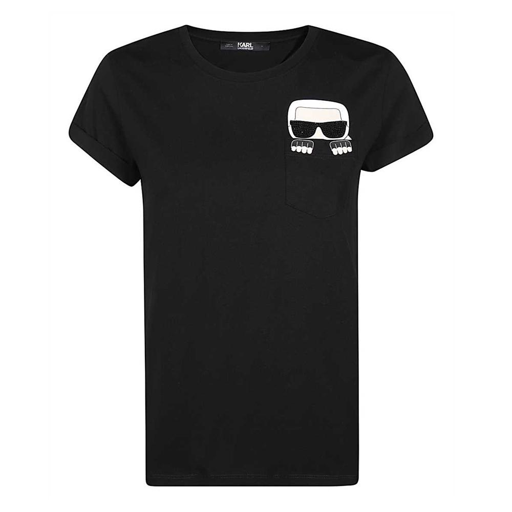 Karl Lagerfeld 躲貓貓老佛爺印花貼鑽捲袖棉質T恤 (黑色)