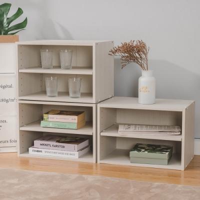 樂嫚妮 收納櫃/置物櫃/二層空櫃-3入組-木紋白色