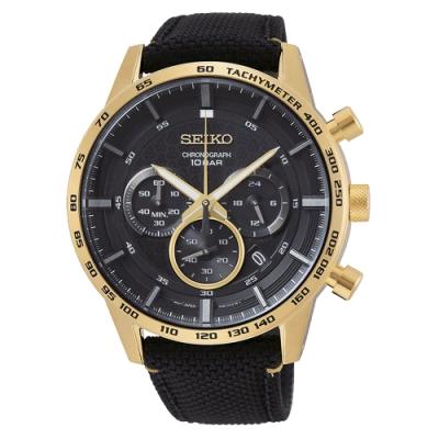 SEIKO 精工 50周年紀念款三眼計時手錶SSB364P1-黑X金/45mm