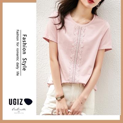 UGIZ-修身圓領溫柔浪漫純色蕾絲造型上衣-粉色(M-XL)