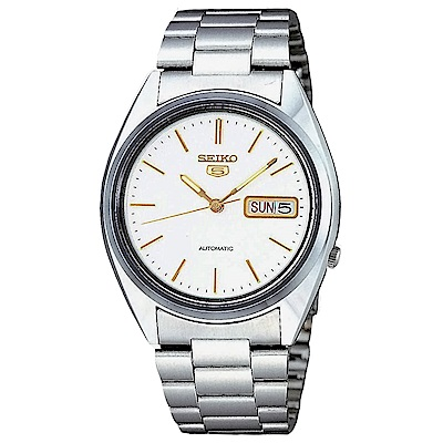 SEIKO精工  帥氣型男夜光5號自動上鍊機械腕錶(SNXG47K1)-白/37mm
