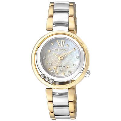 CITIZEN L系列 女神之吻光動能真鑽女錶(EM0329-54D)-雙色版/30mm