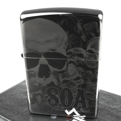 ZIPPO 美系~Sons Of Anarchy-混亂之子骷髏-4面連續雷射雕刻打火機