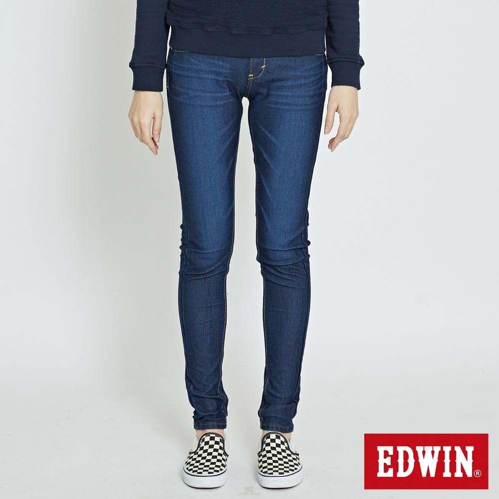 EDWIN JERSEYS 迦績 紅金格腰頭 中直筒牛仔褲-女-原藍磨