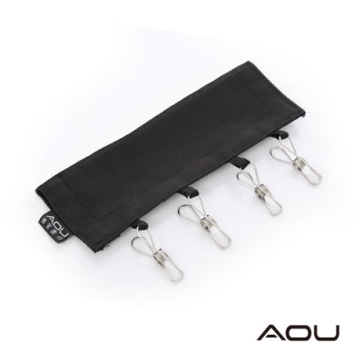 AOU 旅行衣夾 台灣製 攜帶式可折疊曬衣夾 魔鬼氈不鏽鋼掛夾 3件組-黑 66-065B