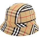 BURBERRY Vintage 格紋棉質漁夫帽(古典黃)