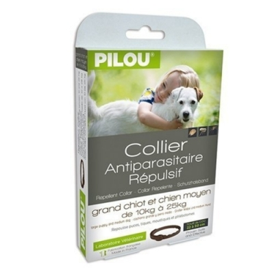 法國皮樂Pilou第二代加強升級-非藥用除蚤蝨項圈-中型犬用(60cm-15kg上下) 兩盒組