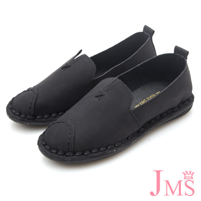 JMS-輕柔格調小V口縫線平底休閒鞋-黑色