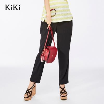 【KiKi】垂墜質感綁帶-長褲(藍色)