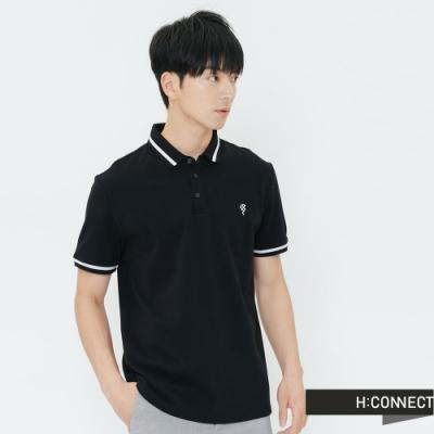 H:CONNECT 韓國品牌 男裝-刺繡圖滾邊POLO衫-黑