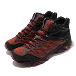 Merrell 戶外鞋 Moab FST Mid GTX 男鞋 登山 越野 戶外 耐磨 黃金大底 防潑水 橘 黑 ML35743