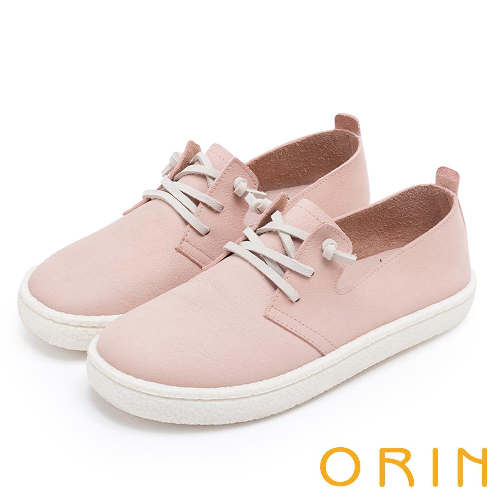 ORIN 雲朵般的舒適輕柔 牛皮免綁鞋帶休閒鞋-粉紅