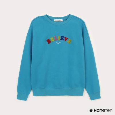 Hang Ten-女裝-HOPE-內刷毛彩色Believe大學T-藍色