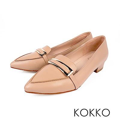 KOKKO  - 書頁翻飛金扣軟羊皮尖頭樂福鞋-奶茶杏